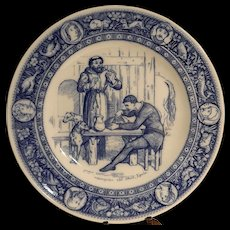 """Antique Wedgwood Ivanhoe Flow Blue 10"""" Dinner Plate –Friar Tuck and Black Knight-  Victorian Era"""