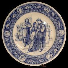 "Antique Wedgwood Ivanhoe Flow Blue 10"" Dinner Plate –Ivanhoe and Rebecca Victorian Era"