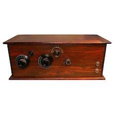 Antique Kellogg Wooden Case 3 Tube Battery Radio- circa 1920's