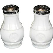 Vintage Wheaton Glass Company Milk Glass Salt and Pepper Shakers - Eagle Coin - circa 1960s