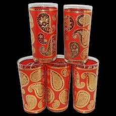 Vintage Culver Glassware Company Red And 24 kt Gold Paisley Pattern High Ball Tumblers - Red Tag Sale Item
