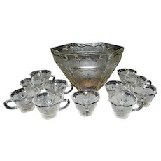 Vintage Federal Glass Americana Punch Bowl Set - Eagle Star Design