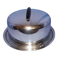 Vintage Everedy Chrome Round Cake Dome and Base