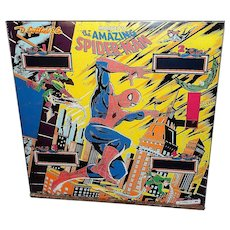 Vintage Amazing Spider-Man Pinball Machine Backglass -Gottlieb, D. & Co., 1980