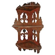 Antique German Decorative Fretwork Wood Wall Corner Shelf with 3 Shelves