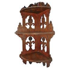 Antique German Decorative Fretwork Wood Wall Corner Shelf with 3 Shelves