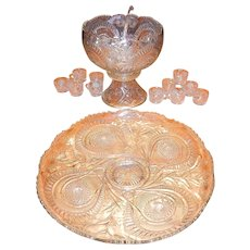 """Vintage Slewed Horseshoe -Radiate Daisy"""" - Peacock Punch Bowl, With Base, Underplate and 11 Cups and Glass Ladle"""