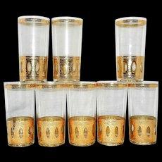 Vintage Culver Signed Antigua Mid-Century 22-Karat Gold Highball Glasses