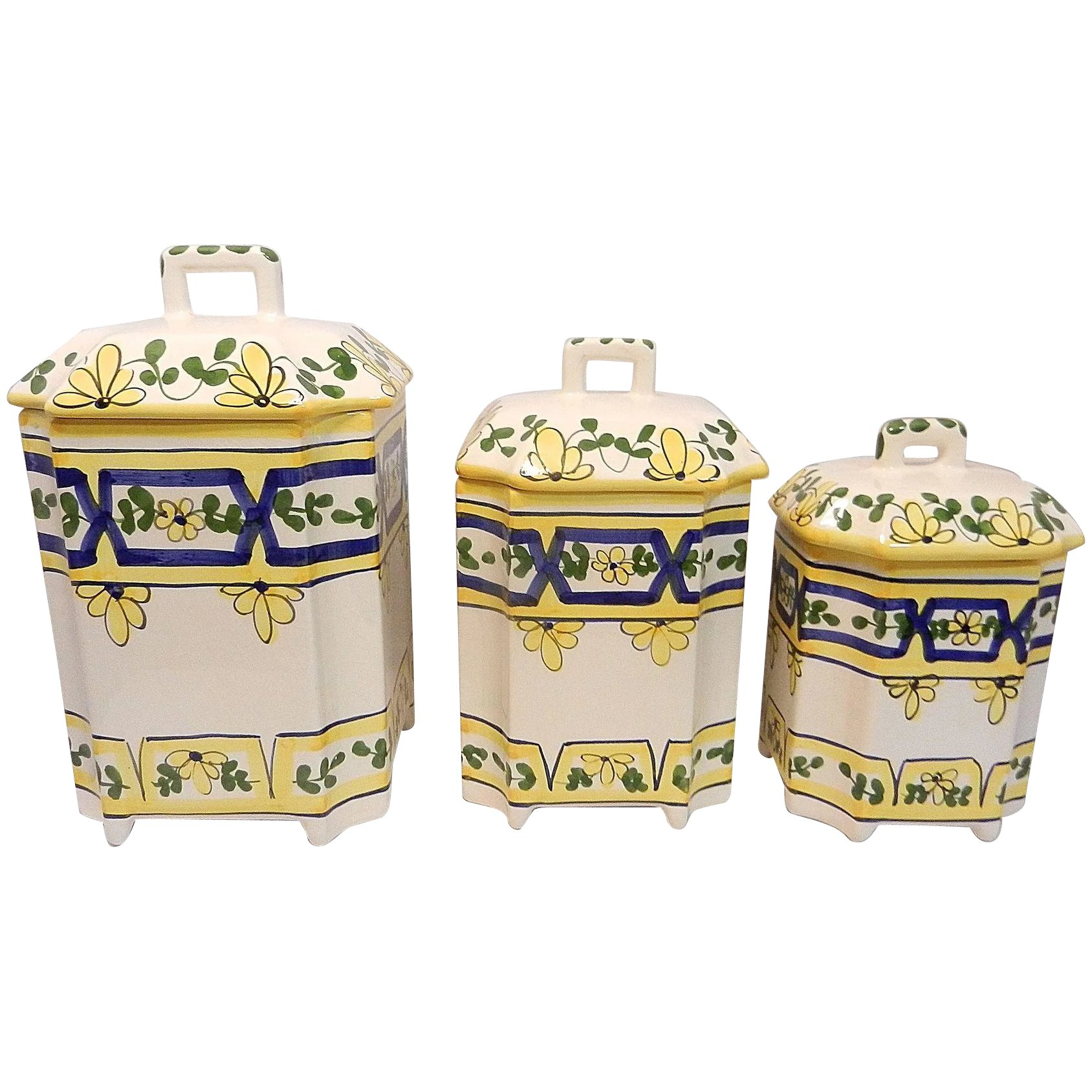 Casa Stone By Casafina vintage set of 3 casafina canisters hand painted portugal yellow blue floral