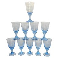 Vintage Libbey Blue Sirrus Wine Glasses
