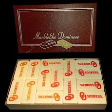 Vintage Puremco Marblelike Dominoes 816 Professional Super Thick with OU Sooners Logo