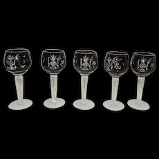 Vintage Nachtmann Traube Pigeon Blood Cut to Clear Crystal Cordials