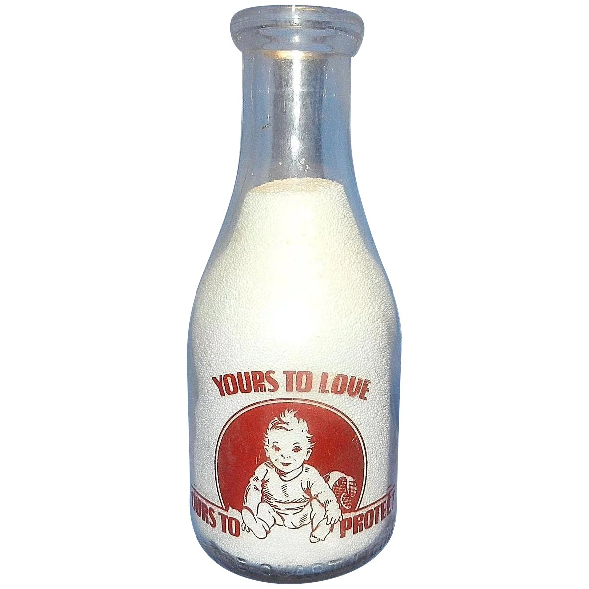 Vintage Valley View Dairy Red Pyro Quart Milk Bottle With