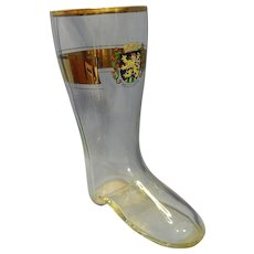 Vintage Heidelberg Glass Beer Boot with 22Kt Gold Trim