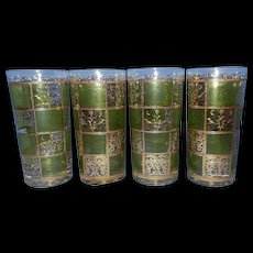 Vintage Culver 22kt Gold Pardo Green Flat Tumbler or Highball