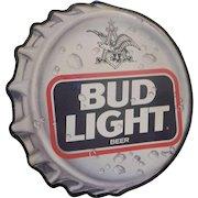 Vintage 1990's Bud Light Bottle Cap Tin Advertising Sign