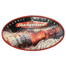 Vintage Budweiser Longnecks Tin Advertising Sign