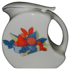 Vintage Calico Fruit Pitcher with Lid by Universal