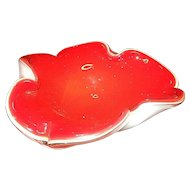 Vintage Cased Red and White Murano Ashtray or Candy Dish