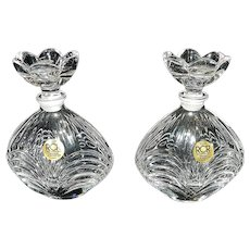 Vintage RCR Crystal Glass Perfume Bottle Drape Design Petal Top made in Italy