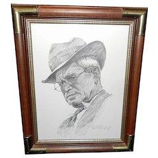 Vintage Will Rogers Portrait Artist Signed by Robert Gartland 1969