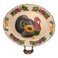 Vintage Large Hand Painted Ceramic Turkey Platter