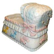 Vintage Relpo Baby Bassinet Music Box Flower Planter