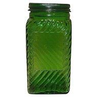 Vintage Green Hoosier Depression Glass Spice Jar