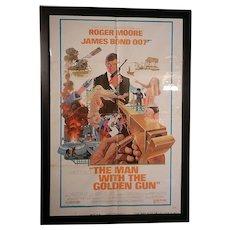 Vintage Original 1974  James Bond Man with the Golden Gun Staring Roger Moore Movie Poster