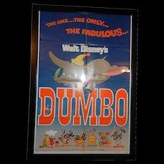 Vintage Original 1972 Walt Disney Dumbo Re-release Movie Poster