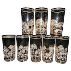 Vintage Mid-Century Culver 22 kt Gold Mushroom High Ball Glasses