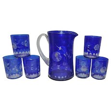 Vintage Wheel Cut to Clear Cobalt Blue Pitcher and 6 Glasses