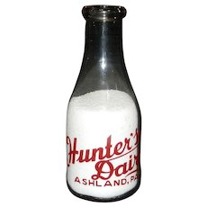 Vintage Hunter's Dairy Ashland PA. Pyro Quart Milk Bottle