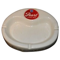 Vintage Pearl Beer Oval Porcelain Ashtray