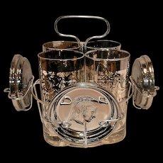 Mid Century Kimiko Guardian Crest Silver Highball and Coaster Barware Set