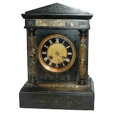 Antique French L Marti et cie Medaille De Bronze Slate and Marble Mantle Clock