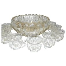 Vintage Thumbprint Punch Bowl and 8 Cups with Glass Ladle