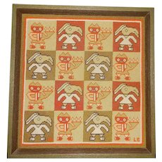 Vintage Needle Point Example of Pre-Columbian Art