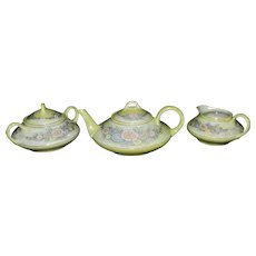 Antique Jaeger and Co Bavaria Porcelain Teapot, Sugar and Creamer Set, Circa; 1898