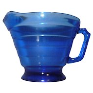 Vintage Cobalt Blue Depression Glass Creamer in Moderntone pattern by Hazel Atlas