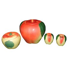 Vintage 1940's  Hull Pottery 4 Piece Apple Set with Cookie Jar, Grease Jar and Salt & Pepper