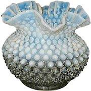 Fenton Hobnail French Opalescent Miniature Crimped Vase