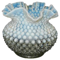 Fenton Hobnail French Opalescent Miniature Crimped Vase