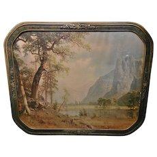 Vintage Art Deco Framed Albert Bierstadt Yosemite Valley Lithograph circa 1930's