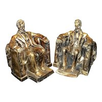 Vintage Alexander Backer Style Plaster Abraham Lincoln Bookends