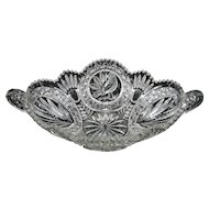 """Vintage Hofbauer """"The Byrdes Collection"""" Hand Cut Crystal Oval Canoe/Fruit Bowl #1414"""