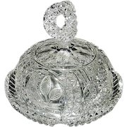 """Vintage Hofbauer """"The Byrdes Collection"""" Hand Cut Crystal Butter and Cheese Dish #1430"""