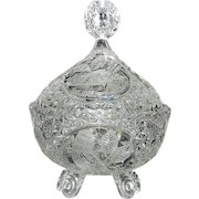 """Vintage Hofbauer """"The Byrdes Collection"""" Hand Cut Crystal 3-Footed Candy Dish with Lid #1424"""