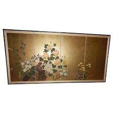 "Vintage Japanese Byobu Wall Screen 72"" x 36"""
