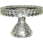 Vintage 1930's Fostoria American Crystal Round Glass Pedestal Cake Plate